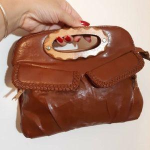 Vintage 70s boho wood handle leather purse clutch